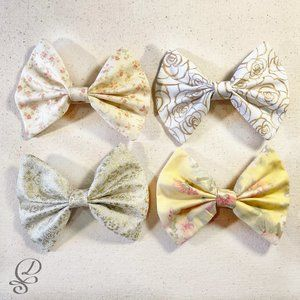 Set of 4 Handmade Golden Spring Garden Hair Bows